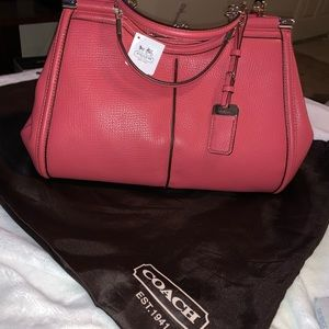 COACH MADISON LEATHER PINNACLE CARRIE SATCHEL